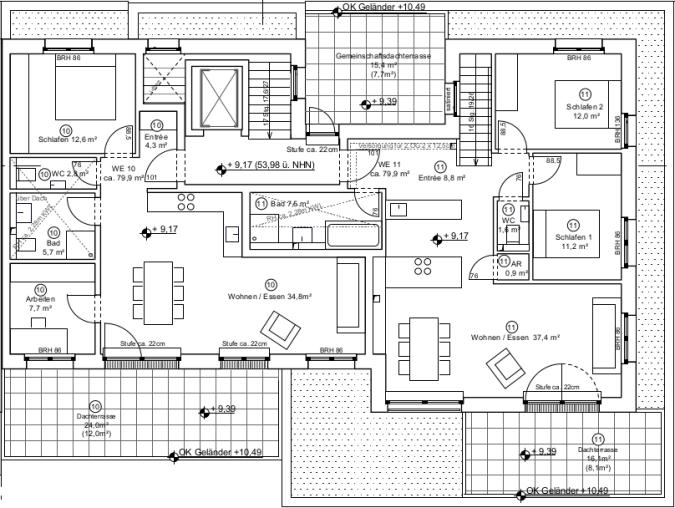 Grundrisse Staffelgeschoss