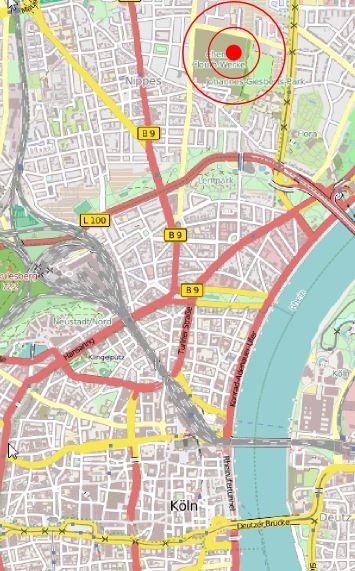 Landkarte von Köln mit Position unseres Gebäudes