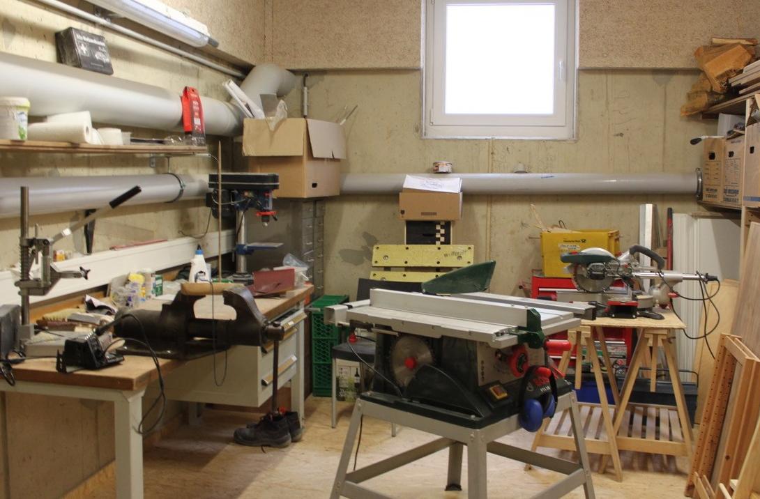 Die (noch nicht fertig eingerichtete) Werkstatt
