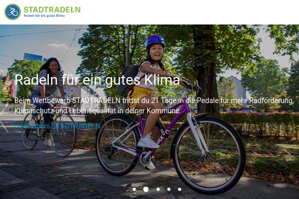 Screenshot der Stadtradeln Website