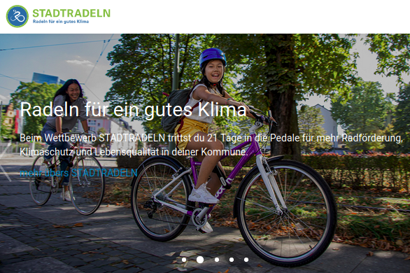 Screenshot der Stadtradeln Website