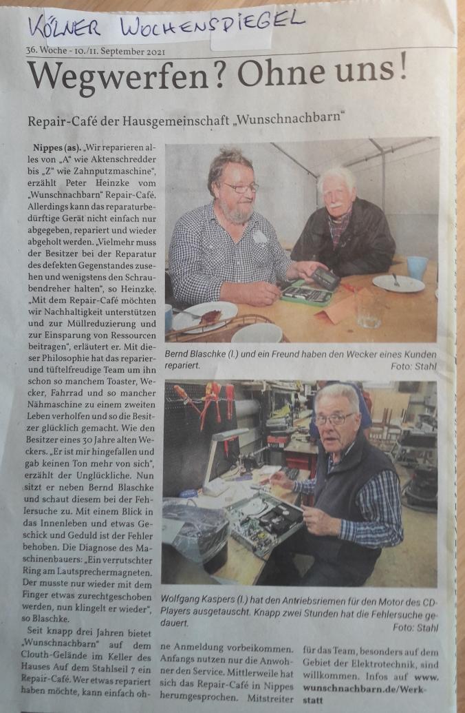 Artikel im Kölner Wochenspiegel